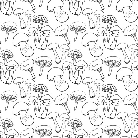 morel: Hand drawn mushrooms seamess pattern. Doodle vector background with edible mushrooms. Healthy food.