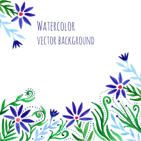 greeting card background: Watercolor hand paint decorative frame with flowers. Floral background. Vector template watercolor flowers card for flyer,banner, postcards, invitation, wedding, birthday and greeting card Stock Photo