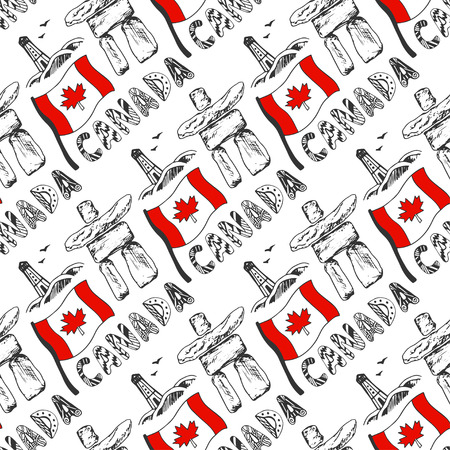 Hand drawn seamless pattern with Canada culture elements. Canadian background with national flag for design. Vector illustration