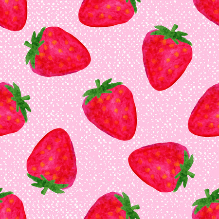summer fruit: Watercolor seamless pattern with strawberries on pink background . Hand drawn design. Vector summer fruit illustration.