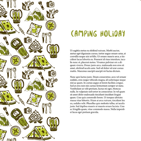 tourist guide: Hand drawn decoration with camping holiday elements. Summer vacation background. Vector travel template for flyer, banner, poster, brochure design Stock Photo
