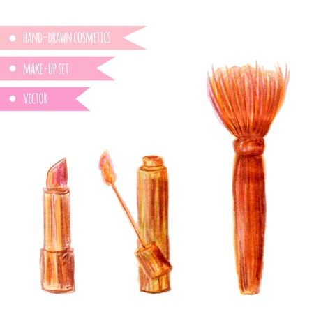 lip gloss: Cosmetics set. Hand drawn make up artist objects: lipstick, lip gloss, brush blender . Vector isolated beauty illustrations