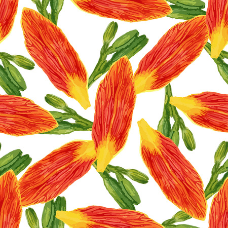 Seamless pattern with watercolor petals flowers and buds. Lilies background for wallpaper, textile, fabric or packaging design. Vector illustration.
