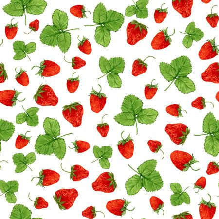 ベクトル イチゴと白い背景の上の葉の水彩のシームレスなパターン。エコ製品設計、soap パッケージ、繊維、包装などの手描きイラスト