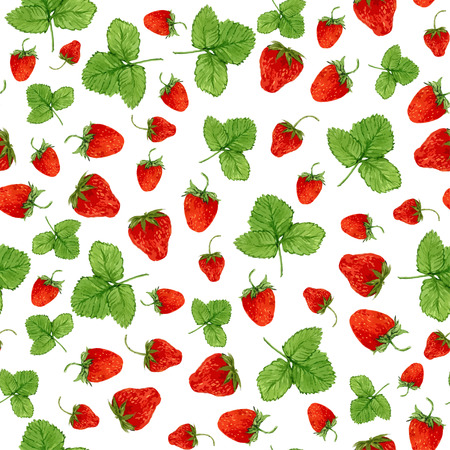 Watercolor seamless pattern with vector strawberries and leaves on the white background. Hand drawn illustration for eco product design, soap package, textile, wrapping etc
