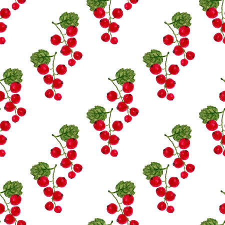 red currant: Watercolor seamless pattern with red currant. Vector fruit texture background. For healthy menu, packaging or wrapping design