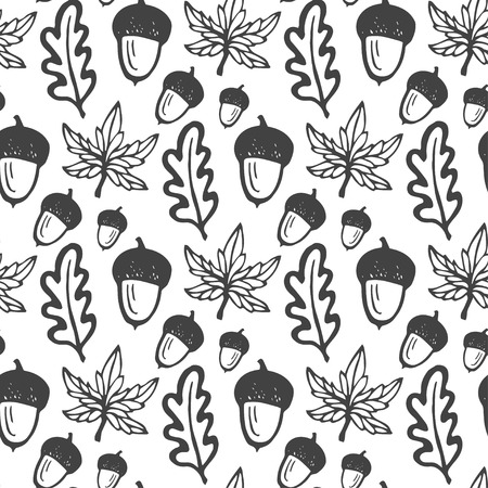 acorn seed: Seamless pattern with acorns and maple, oak leaves. Hand drawn vector background for fabric, textile, wrapping and packaging