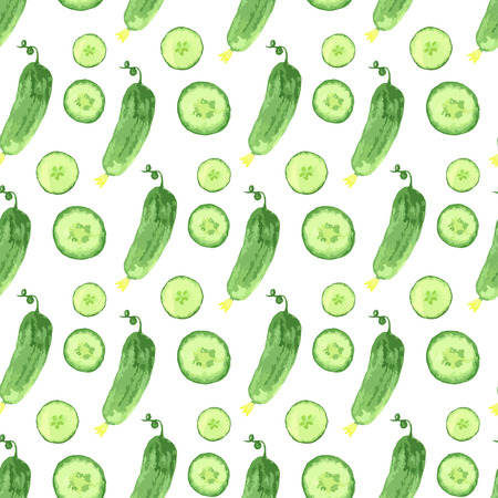 cucumbers: Watercolor seamless pattern with green cucumbers. Vector hand drawn healthy food illustration