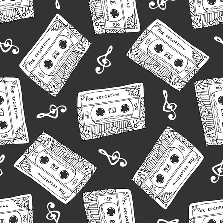 reckless: Seamless pattern with vintage cassettes. Black and white music print. Doodle musical texture for wrapping, fabric swatch. Vector design