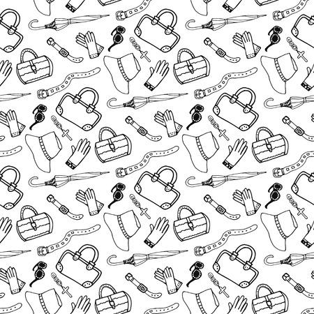 手描きの女の子ファッション アクセサリーやハンドバッグ シームレスなパターンを落書き。ショッピング ファッション背景スケッチ