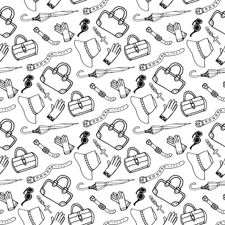 Doodle hand drawn girl fashion accessories and handbags seamless pattern. Sketch shopping fashion background