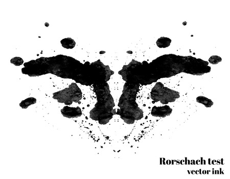 schizophrenic: Rorschach test ink blot vector illustration. Psychological test. Silhouette inkblot isolated. Vector Illustration
