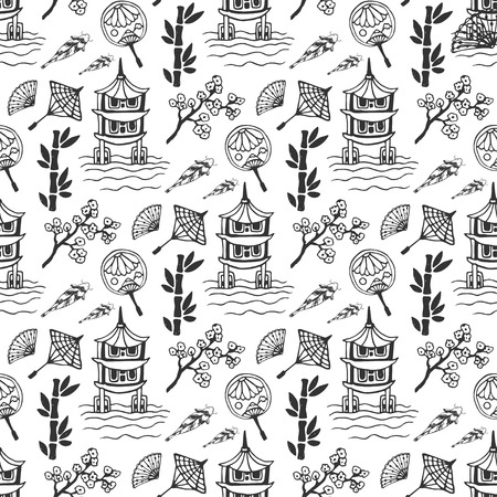 japan culture: Hand drawn seamless pattern with Japan culture elements, nature and architecture. Japan background for design. Vector illustration Illustration