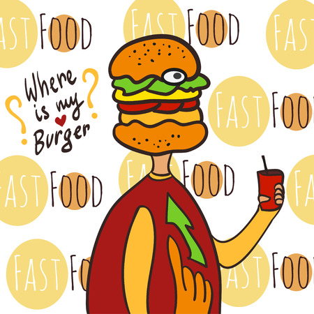 bad diet: Hungry fat man with cola and burger head. Where is my burger. Hand drawn vector illustration. Propaganda poster -  healthy lifestyle