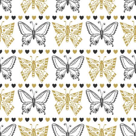 蝶の黒とゴールドの色のかわいいシームレス パターン。手には、ベクトルの背景が描画されます。折り返し、パッケージング、壁紙やテキスタイル
