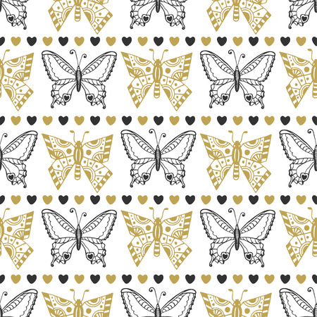 Cute seamless pattern of butterflies black and gold colors. Hand drawn vector background. Can be used for wrapping, packeging and wallpaper or textile design