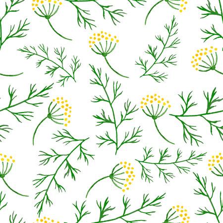 フェンネルやディルの緑の小枝を様式化された水彩シームレス パターン。ベクトルは手描き花ディルのシームレスな背景です。ハーブ食品 ingridients  イラスト・ベクター素材