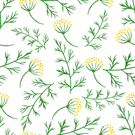 fennel: Stylized watercolor seamless pattern with sprigs of greenery, dill or fennel. Vector hand drawn flower dill seamless background. Herbs food ingridients, green organic spice