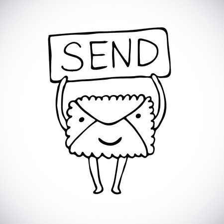 send: Mail icon. Personal send mail with character. Envelope character. Vector hand drawn illustration