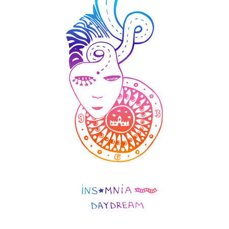 day dream: Colorful print or poster day dream. Concept thind dream with sleepless. Dreams everything