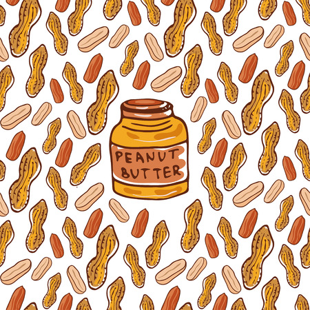 nutty: Cute seamless pattern with peanuts and butter jar. Sketched nuts hand drawn vector background. For your design, textile, fabric, surface textures, packaging