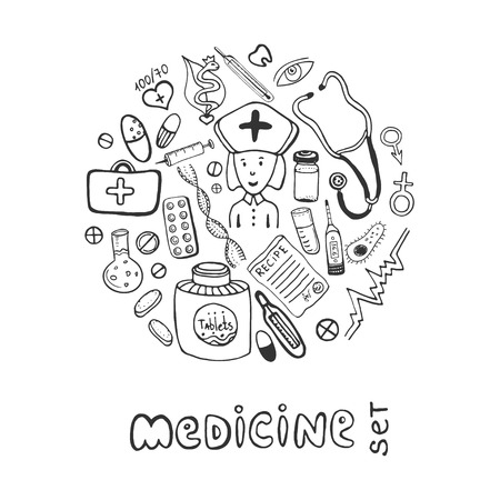 flu vaccine: Hand drawn medicine doodle icons set. Sketches healthcare and medical collection