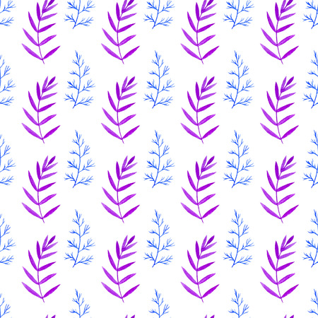 colors paint: Watercolor seamless pattern with branches in blue and violet colors. Floral vector hand paint background. For print, packaging, wrapping and textile