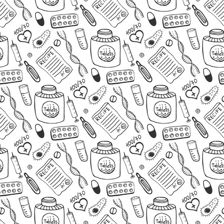flu vaccine: Hand drawn healthcare and medicine seamless pattern. Doddle sketches medical background