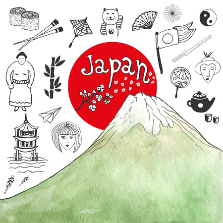 japan culture: Doodle hand drawn collection of Japan icons with watercolor mountain. Japan culture elements for design. Vector illustration