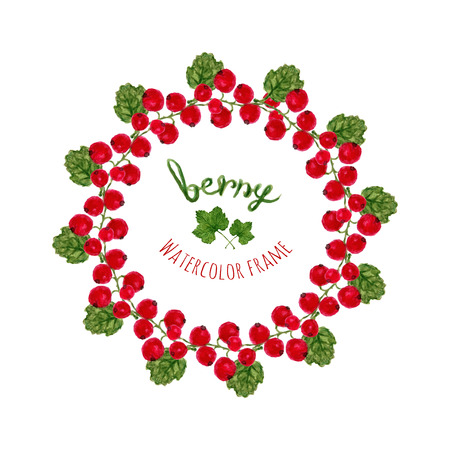 farmers market: Vector illustration with watercolor red currants frame. Hand drawn berry for farmers market,  herbal tea, eco product design, soap package, etc. Organic food decoration.