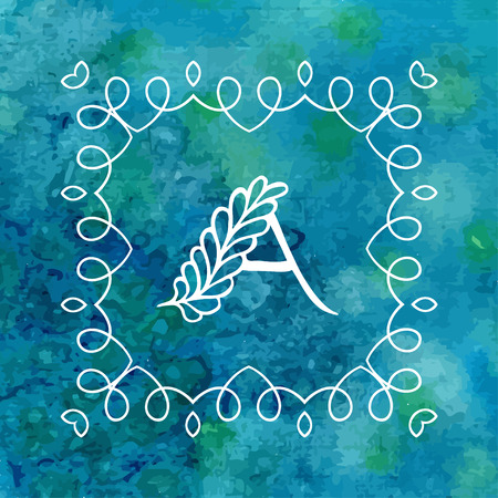logo element: Watercolor monogram with letter A. Vector design element. Watercolor blue texture. Can be used for wedding, birthday, mothers day, valentines day cards Illustration
