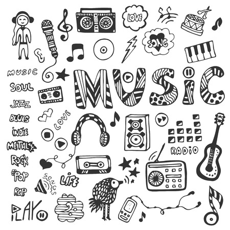 Hand-drawn collection with music doodles. Music icons set. Vector illustration Vettoriali