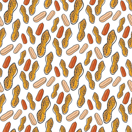 hard crust: Cute seamless pattern with peanuts . Sketched natural nuts hand drawn vector background. For your design, textile, fabric, surface textures, packaging