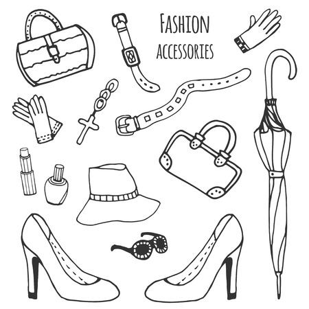 accessorize: Sketch collection of women accessories. Fashion set. Hand drawn vector isolated Illustration