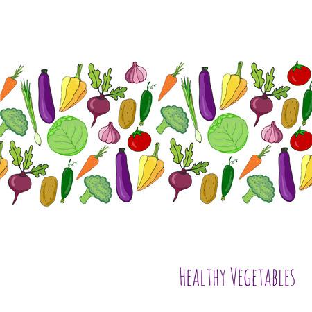 野菜の手描きの背景。孤立した野菜はフレーム境界線のベクトル図です。野菜メニュー カバー、ポスター デザインの様式化されたコレクション 写真素材