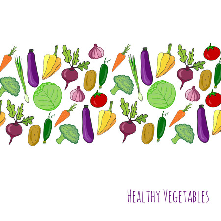 Vegetable hand drawn background. Isolated vegetables frame border vector illustration. Vegetables stylized collection for design, poster, cover, menu 스톡 콘텐츠