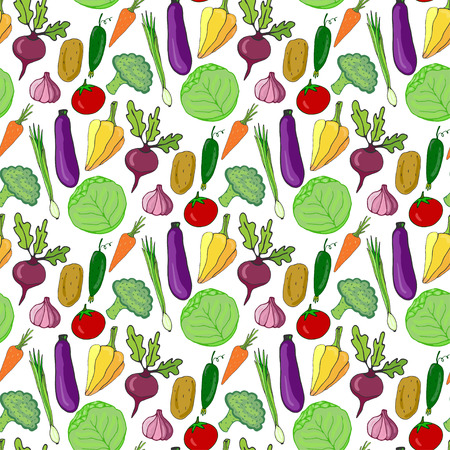 diet cartoon: Colorful vegetables hand drawn seamless pattern. Vector illustration. Vegetable stylized background for design Stock Photo