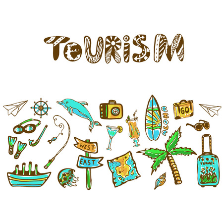 tour operator: Hand drawn doodle set with summer holiday icon. Tourism vector background. Banner or poster, travel design template