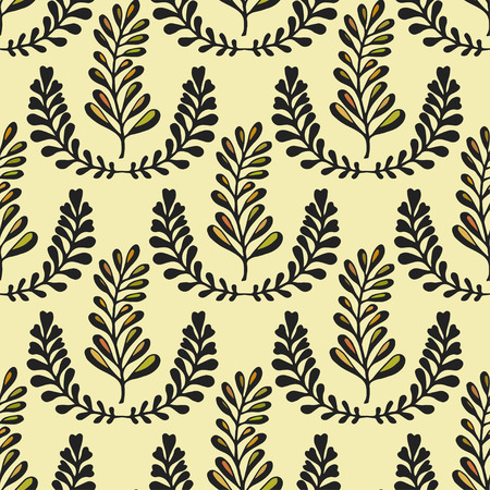 American Indian: Ethnic seamless pattern with ornamental stylized leaves on yellow background. Endless texture, template for fabric, textile, covers, backgrounds, wrapping,package design