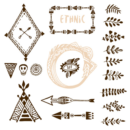 wigwam: Hand drawn ethnic collection with arrows, wigwam, frames and border, floral brush strike elements for design. Vector set with tribal, indian, aztec, hipster, boho elements