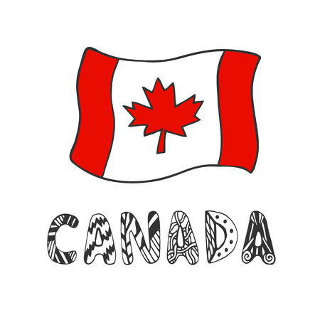 Hand drawn, sketch illustration of flag Canada with doodle lettering. Isolated vector artwork Çizim