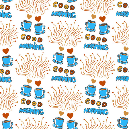 good break: Cute seamless pattern with hand drawn sketchy tea and coffee cups, hearts and Good morning lettering. Love coffee break doodle background