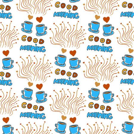 good break: Modelo incons�til lindo con mano dibujada t� incompletos y las tazas de caf�, corazones y Good letras ma�ana. El amor de fondo caf� ruptura del doodle
