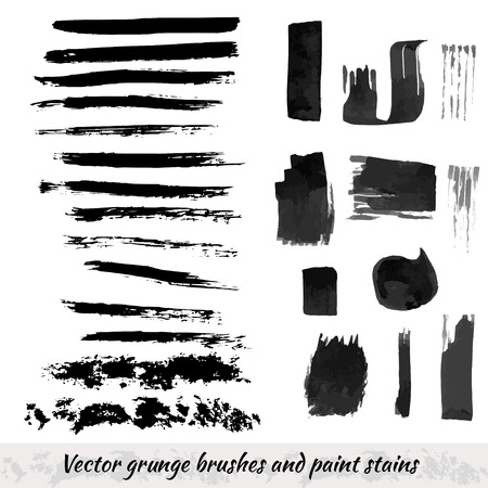 Vector collection with grunge brush strokes and paint stains. Black ink elements isolated set