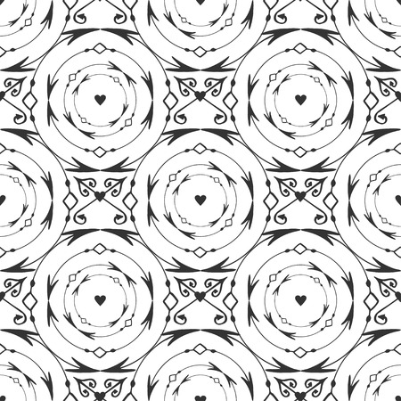 forged: Elegant black round forged seamless pattern. Vector black and white background with arrows, circle and heart decoration