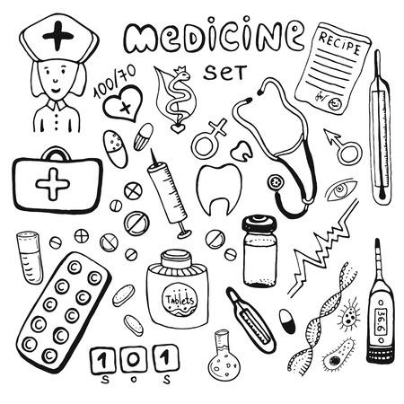 hospital caricatura: Cuidado de la salud y la medicina del doodle iconos drenados mano fijaron