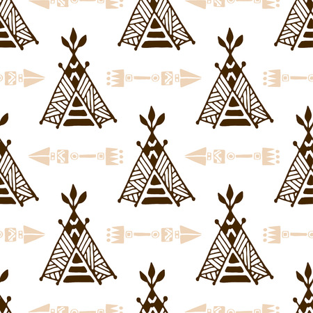 wigwam: Seamless wigwam pattern with arrows. Hand-drawn indian background vector. Native american tent pattern