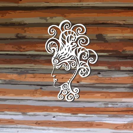 godness: Hand drawn zentangle girl with cosmic hair - vector illustration. Gorgon Medusa. Icon, logo or avatar