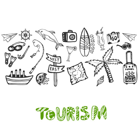 tour guide: Hand drawn background with summer holiday elements. Tourism vector wallpaper with doodle signs collection. Banner or poster Stock Photo