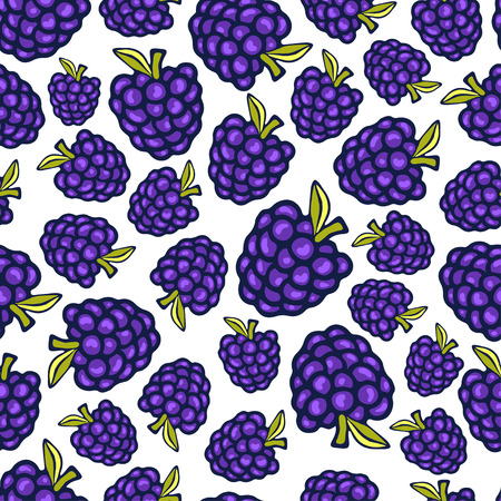 bramble: Blackberry seamless pattern. Vector doodle berry design for wallpaper, web page background, wrapping, packaging,